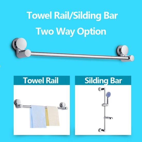 Home And Hotel Bathroom Accessories Removable Single Towel Bar Rail Vacuum Suction Cup