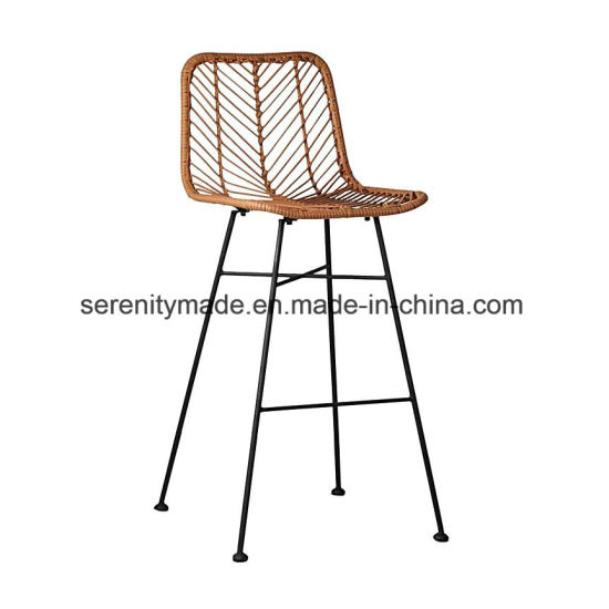 Tropical Modern Loft Style Pe Rattan Outdoor High Bar Stools