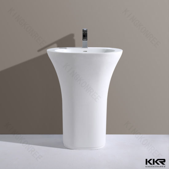 White Modern Solid Surface Bathroom Pedestal Basin Sink pictures & photos