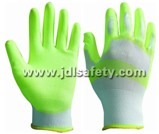 13 Gauge Labor Protect Hands White/Hi Viz Yellow Nylon Work Glove with PU Palm Coated (PN8115)