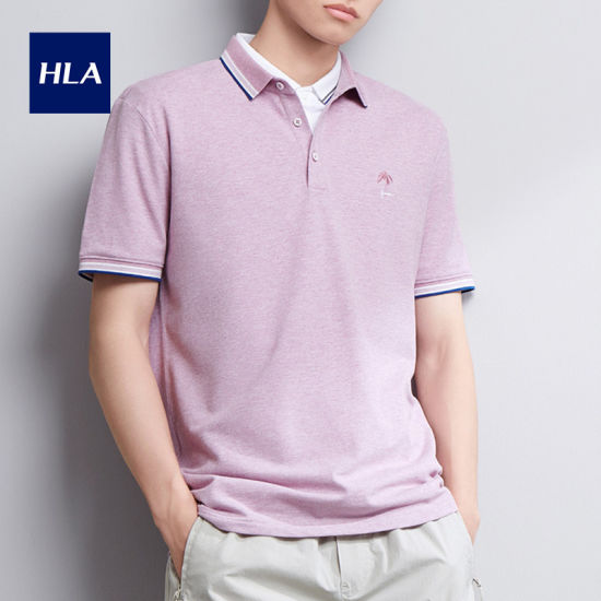 Hla Lapel Embroidered Short Sleeve Polo 2020 Summer New Pearl Fabric Comfortable Short T Male