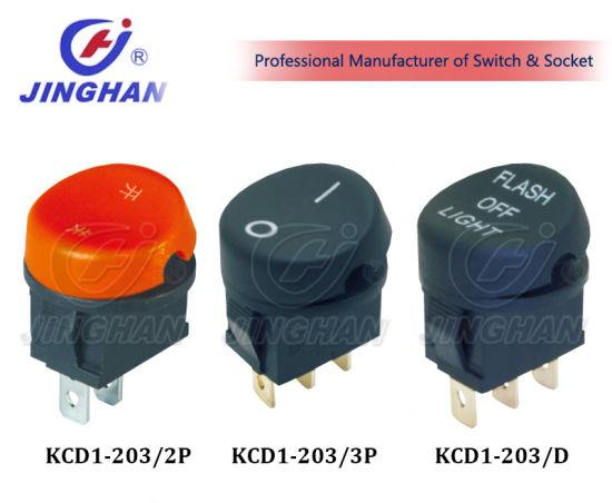 Kcd1-203 Rocker Switch Dia: 22mm Round Electric Switch