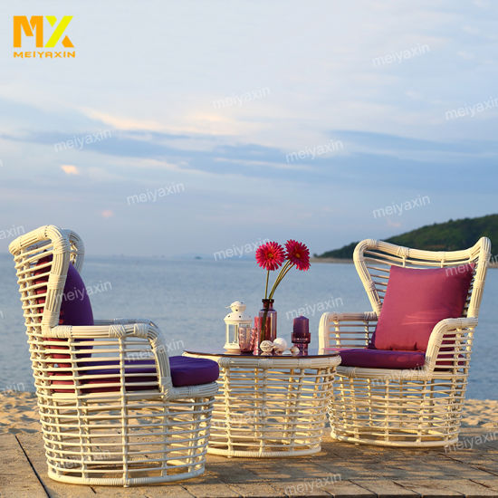 Hot Sale Round Rattan Weave High Quality Outdoor Garden Furniture with Durable Cushions