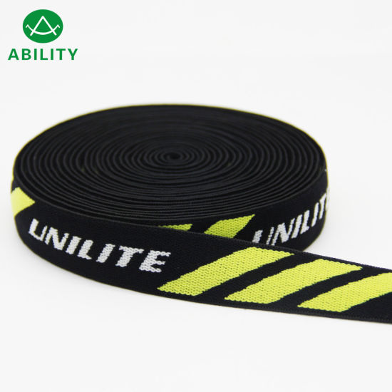 Customized Logo Soft Polyester Nylon Jacquard Woven Elastic Webbing pictures & photos