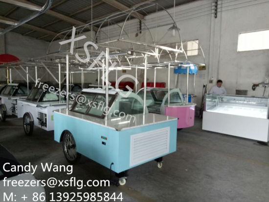 Italian Gelato Cart / Ice Cream Trolley / Sandwich Showcase Freezers for Sale pictures & photos