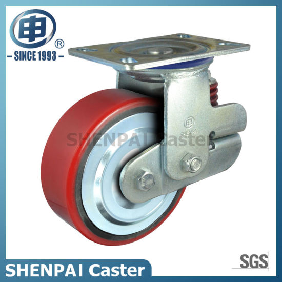 "5""Iron Core PU Single Springs Swivel Shockproof Caster Wheel"