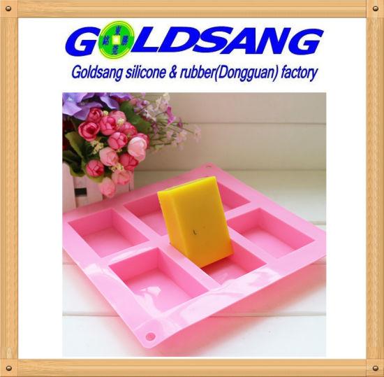 China 6 Cavity Rectangle Silicone Soap DIY Mold - China