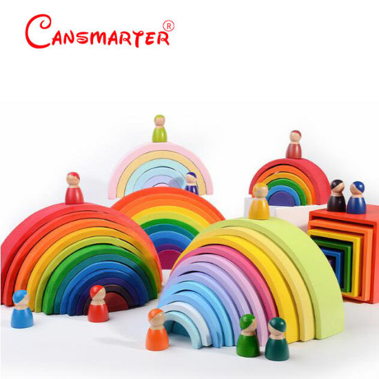 Children′s Solid Wood Colored Blocks Wooden Educational Toys pictures & photos