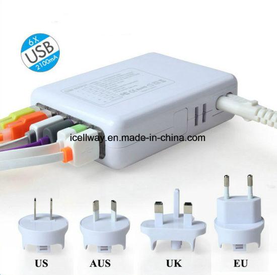 6 USB Port Home Charger 100-240V 5V 4A USB Multi Phone Charger