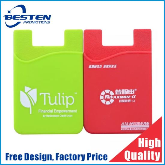 Factory Supply Cheap Silicone Smart Phone Credit Card Holder Sticker, Cell Phone Silicone 3m Sticker Credit Card Holder