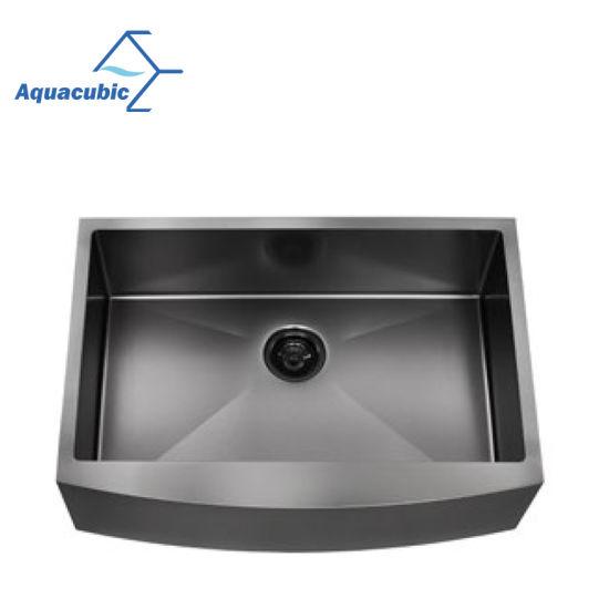 Aquacubic Gunmetal Black Nano Single Bowl Stainless Steel Apron Farm House Handmade Kitchen Sink (ACS3021B1QB)
