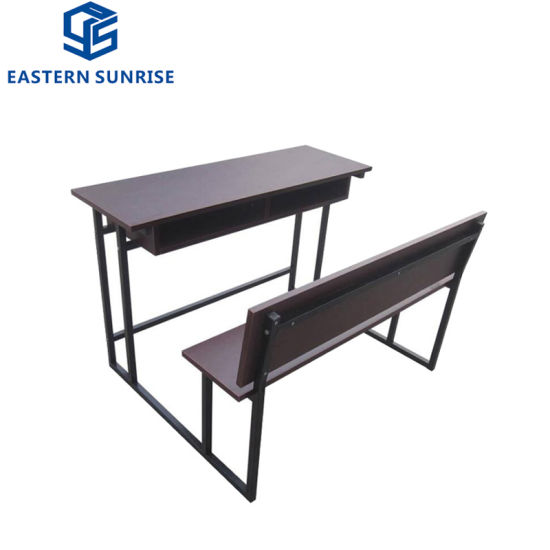 Durable School Furniture Wooden Double Student Desk and Chairs