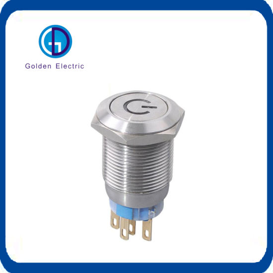 16mm Flat Round Stainless Steel 12V Red LED Latching 1no1nc Metal Push Button LED Switch
