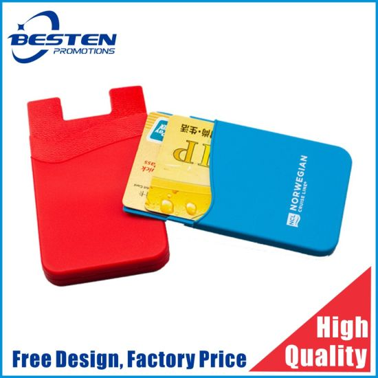 Promotional Smart Wallet 3m Sticky Silicone Mobile Card Holder