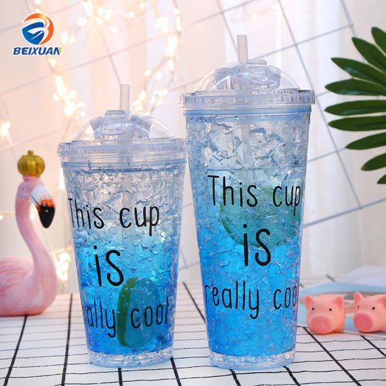 Wholesale 450ml 650ml Reusable Eco Plastic Double Wall Cup with Straw and Lid