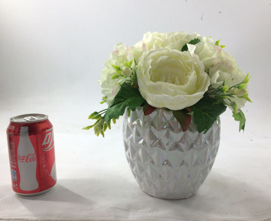 White Artificial Flowers Elegant Ceramic Bonsai