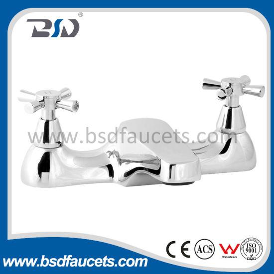 China Modern Chrome Deck Mounted Bathroom Faucet Mixer Brass Bath