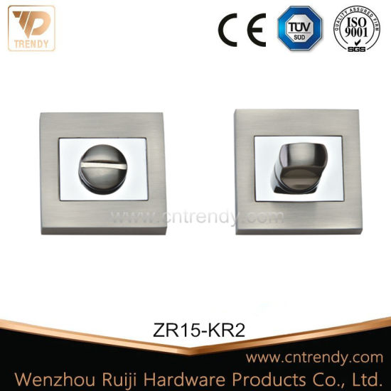 Zinc Alloy Square Wc Privacy Thumbturner Knob on Small Plate (ZR15-KR2) pictures & photos