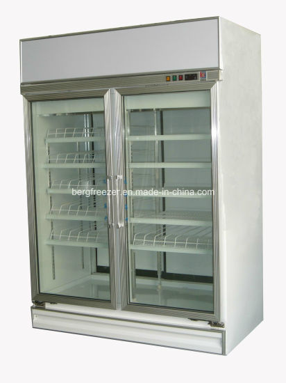 China Convenient Store Clear Glass Door Refrigerator For Beverage