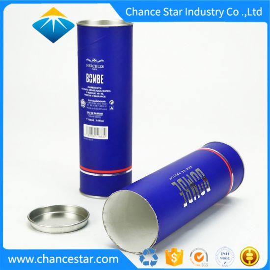 Custom Paper Cardboard Round Perfume Box with Metal Lid