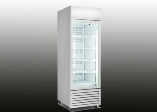 China 360l Glass Door Upright Freezer With Fan Assisted Cooling