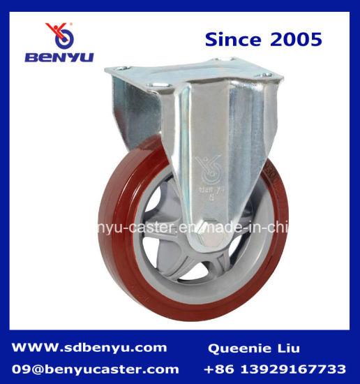 Rigid Mounting Zinc Finished PU Caster Wheel Medium Heavy Duty