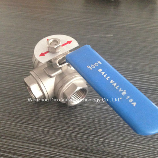 CF8m 1000psi L Port 3 Way Ball Valve with Locked Device pictures & photos