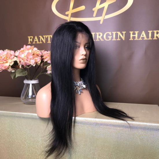 China Best Sales Virgin Hair Straight Full Lace Wig In Pre Pluck