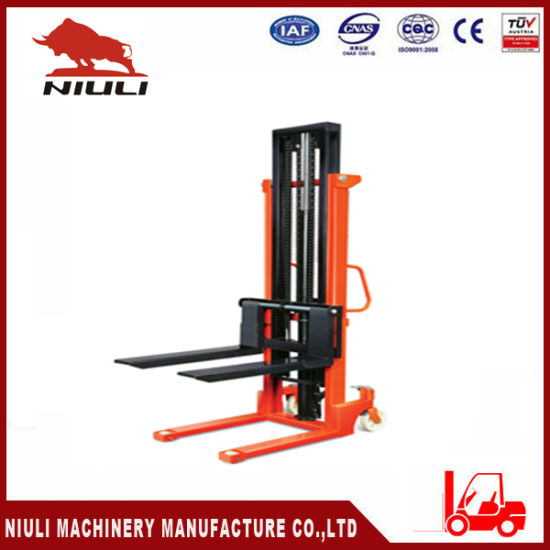 1 Ton 1.5 Ton Hand Manual Hydraulic Stacker Forklift Ce