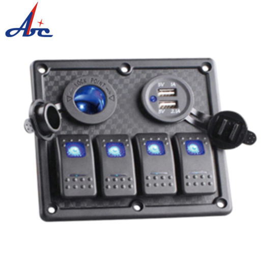 Waterproof Voltmeter Sockets Dual USB Socket Blank Rocker Switch Panel pictures & photos