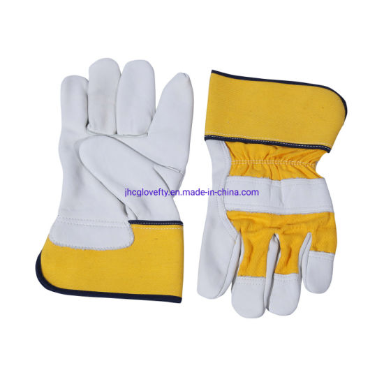 Beige Color Cowgrain Leather Palm Work Glove, Working Glove, Industrial Work Glove, Protective Glove, Leather Gloves, Labor Gloves