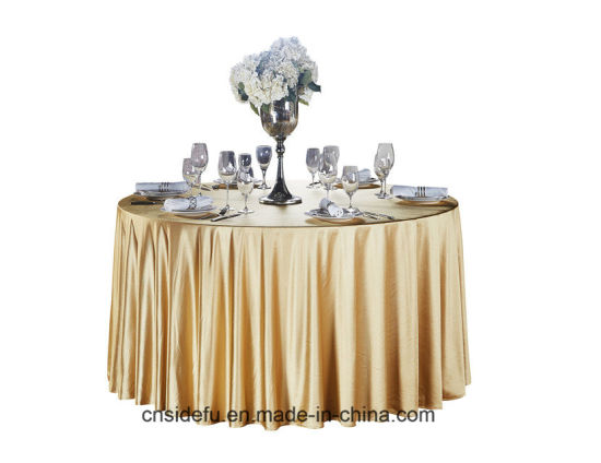 Hotel Banquet Satin Round Glitter Gold Wedding Table Cloth pictures & photos