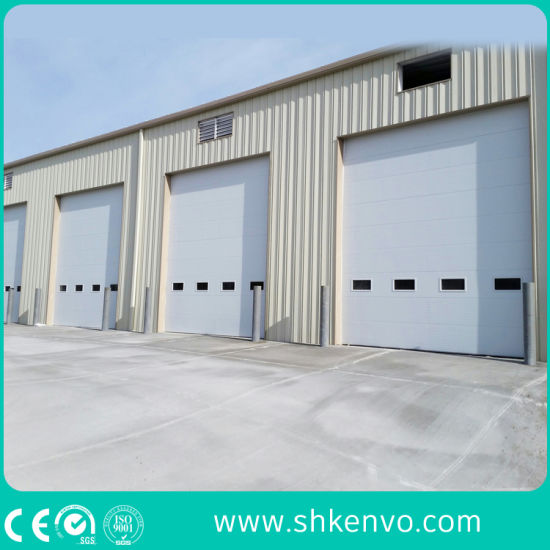 Industrial Automatic Vertical Insulated Steel Roll up Sectional Door with Small Man Door