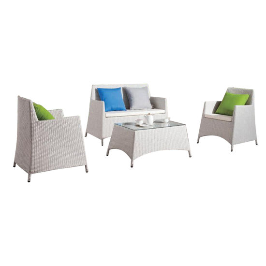 Khaki Color Outdoor Rattan Sofa Set, Used Rattan Furniture