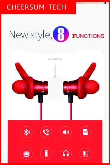 TF Card Stereo Wireless Bluetooth Earphone Sports Magnetic Headphone in-Ear Supper Bass Music Headset Neckband for iPhone Samsung Smartphone