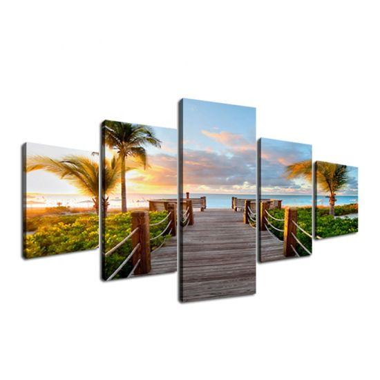 5 Panels Sunset Palms Wall Art Decor Painting Canvas Prints