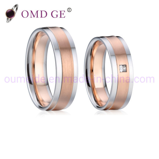 Rose Gold Couple Engagement Wedding Jewelry Steel Rings China Stainless Steel Ring And Rose Gold Rings Price Made In China Com