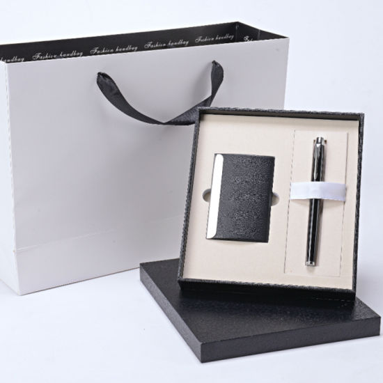 Leather Stationery Gift Sets with Notebook Card Case Ball Pen