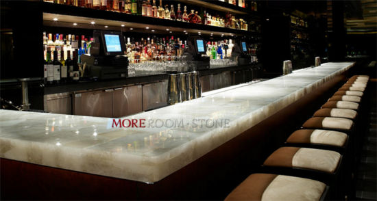 Semi Precious Stone Backlit Natural Quartz Crystal For Bar Top Design