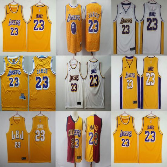 Factory Outlet Los Angeles Lakers James Stitched Replica Basketball Jerseys