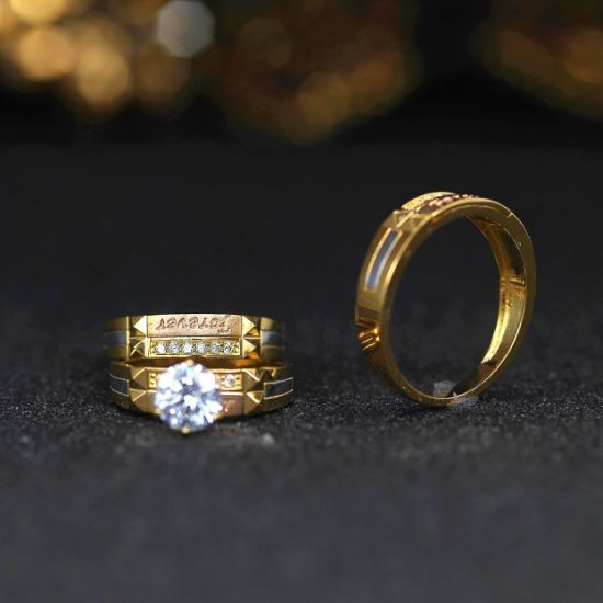 Trend Design 925 Silver Gold Plating Big Clear CZ Trio Set Ring pictures & photos