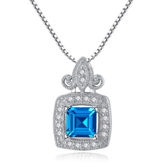 New Ladies Fashion Jewelry Blue Natural Topaz Diamond 925 Sterling Silver Pendant Necklaces pictures & photos