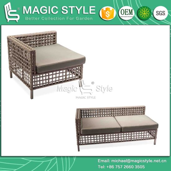 Strip Weaving Sofa with Cushion Outdoor Sofa with Bandage (Magic Style) pictures & photos