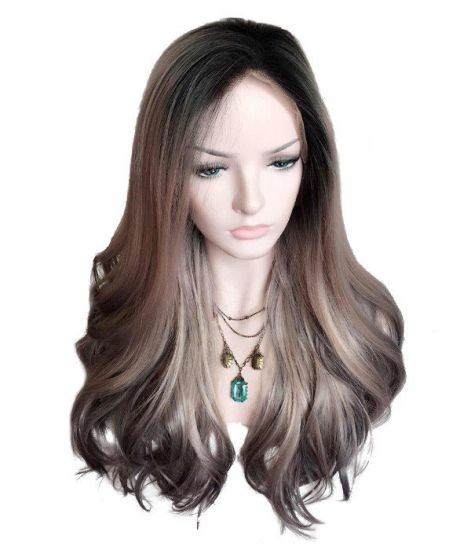 """22"""" Lace Front Wig Synthetic Kanekalon Fiber Ombre Color Black Pink Silver Loose Curl Factory CIF Price to Europe and North America"""