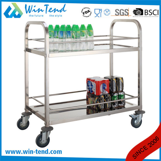 Commercial Square Tube 2 Tier Hotel Lobby or Restaurant Wine Trolley with 2 Brakes pictures & photos