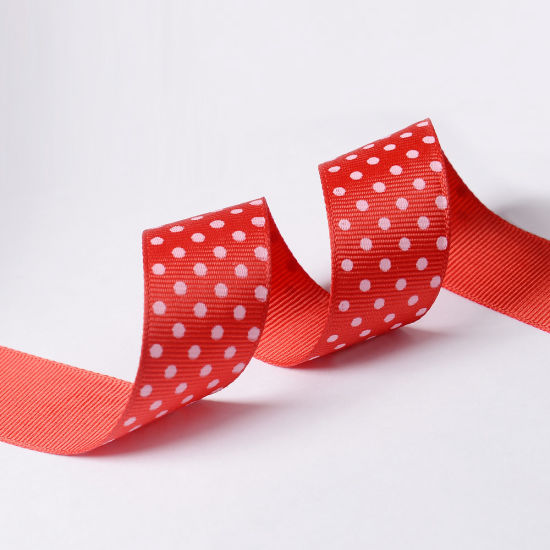 "Pink 7/8"" Printed Party Polka DOT Grosgrain Ribbon pictures & photos"