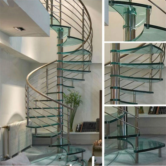Modern Indoor Prefabricated Glass Spiral Stairs Price