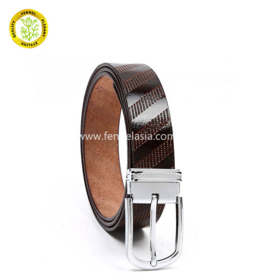 Men Fashion Belt Manufacturer Quality Genuine Real Cow Leather Embossed Pin Buckle Belt (EU3050) pictures & photos