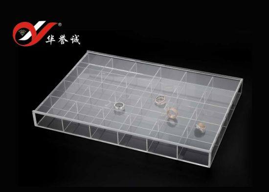 24 Grids Rectangle Acrylic Jewelry Display Box with Cover