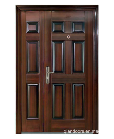 Luxury Entry Double Steel Security Door with Peep Hole for Apartment Fdm002 pictures & photos